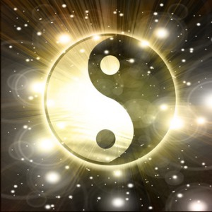 Yin Yang sign on a black background